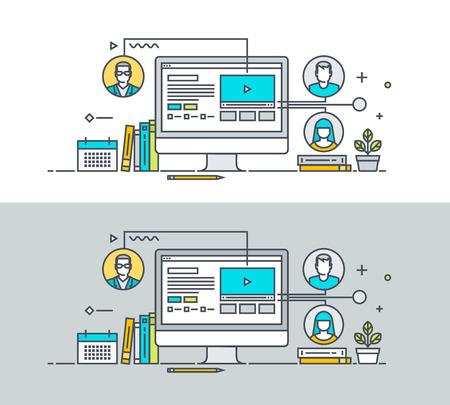 Línea fina concepto de diseño plano sobre el tema de tutorial de vídeo, cursos de capacitación en línea, la comunicación, la educación en línea, llamada de conferencia. Concepto para el sitio web de banners y materiales promocionales.