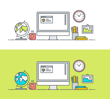 vector banner: Thin line flat design concept of app developer workspace. Concept for website banners and promotional materials. Illustration