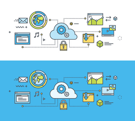 modern illustration: Thin line flat design concept on the theme of cloud computing. Concept for website banners and promotional materials.
