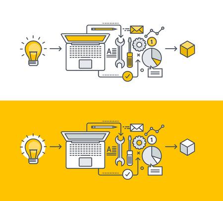 아이디어의 실현에 제품 개발의 주제에 얇은 라인 플랫 디자인 컨셉. 웹 사이트 배너 및 홍보 자료에 대 한 개념입니다.