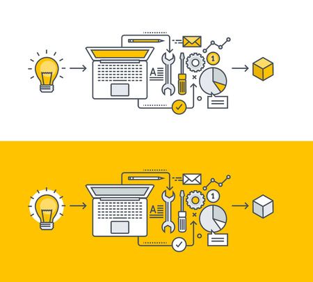 Cienka linia płaska pojęcie na temat rozwoju produktu, od pomysłu do realizacji. Koncepcja banery strony internetowej i materiałów promocyjnych.