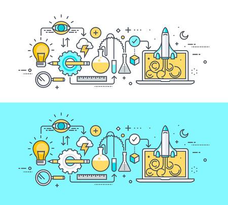 proceso: Línea fina concepto de diseño plano sobre el tema del proceso de desarrollo, desde la idea hasta el lanzamiento del proyecto. Concepto para el sitio web de banners y materiales promocionales.
