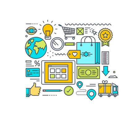 dinero: L�nea fina concepto dise�o plano de las compras en l�nea y el comercio electr�nico. Concepto para el sitio web de banners y materiales promocionales. Vectores