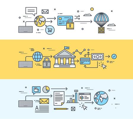 オンライン決済、電子バンキング、電子商取引、ビジネス文書、ソフトウェア、オンライン ビジネス通信を共有の細い線フラット デザイン、バナー