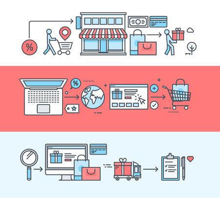online shopping: Set of thin line flat design banners for shopping, e-commerce, online shopping