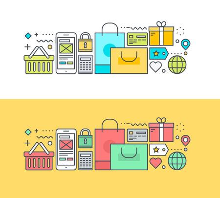 オンライン ショッピングと m コマースのテーマに細い線フラット デザイン コンセプト。Web サイトのバナーや販促資料の概念。