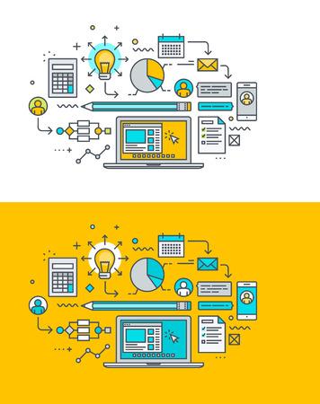 Línea fina concepto de diseño plano sobre el tema del proceso creativo, la investigación, el análisis, la planificación, el desarrollo. Concepto para el sitio web de banners y materiales promocionales.