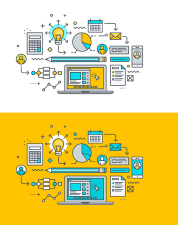 Thin line flat design concept on the theme of creative process, research, analytics, planning, development. Concept for website banners and promotional materials.