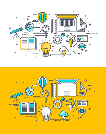 internet marketing: Thin line flat design concept on the theme of the research process. Concept for website banners and promotional materials.