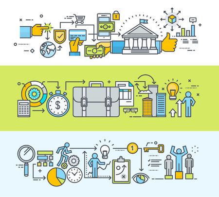 Conjunto de línea delgada diseño plano concepto banners para el pago en línea, banca en línea, comercio electrónico, bandera de página acerca de nosotros, los procesos de negocio de la idea a través de la planificación de la investigación, el desarrollo, la clave del éxito. Modernos ilustraciones vectoriales para el sitio web banners un