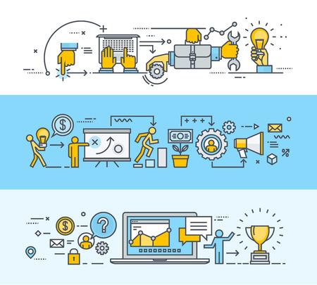 process: Conjunto de línea delgada concepto diseño plano banners para el trabajo en equipo, el proceso de plan de negocios, plan de marketing, consultoría, gestión de proyectos, comunicación con el cliente. Modernos ilustraciones vectoriales para el sitio web de banners y materiales promocionales.
