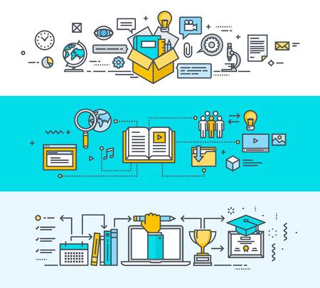 education: 한 온라인 교육 paskage, 비디오 자습서, 교육 과정, 전자 책, 원격 교육, 직원 교육, 온라인 대학, 온라인 학습, 공부에 모든 얇은 선 평면 설계 개념 배너