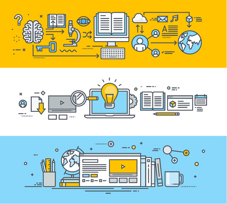 education: 비디오 자습서, 온라인 교육 및 과정, 원격 교육, 직원 교육, 온라인 대학, 온라인 교육 얇은 선 평면 설계 개념 배너의 집합입니다. 웹 사이트 배너, 홍