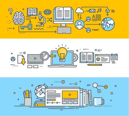 giáo dục: Thiết lập các đường dây mỏng thiết kế phẳng biểu ngữ khái niệm cho video hướng dẫn, đào tạo trực tuyến và các khóa học, giáo dục từ xa, đào tạo nhân viên, các trường đại học trực tuyến, đào tạo trực tuyến. Minh họa vector hiện đại cho các biểu ngữ trang web, tài liệu quảng cáo, ứng dụng giáo dục