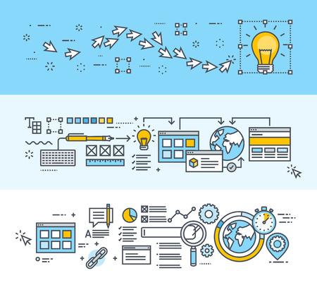 交通: 細い線のフラットなデザイン コンセプトのセットは、創造的なプロセス、大きなアイデア、web サイトとアプリの設計と開発、グラフィック デザイン、SEO バナーし