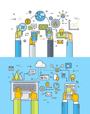 통신: 모바일 비즈니스 및 금융, M 뱅킹, 모바일 상거래, 클라우드 컴퓨팅, 온라인 비즈니스 커뮤니케이션 및 서비스 얇은 선 평면 설계 개념의 집합입니다.  일러스트