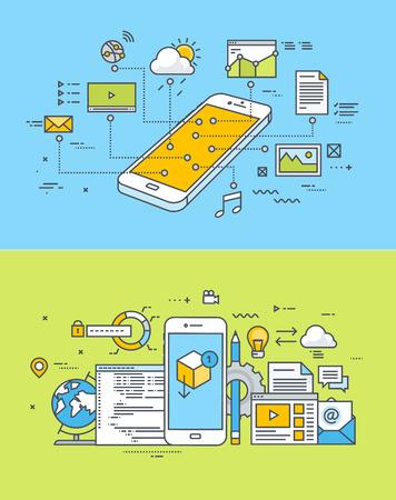 モバイル サイト、アプリの設計と開発の細い線フラット デザイン概念のセットです。ウェブのバナーや販促資料のベクター イラストです。