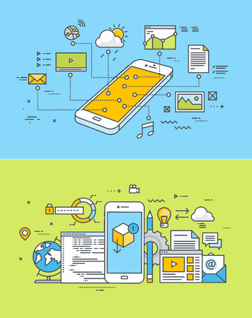 모바일 사이트 및 응용 프로그램 설계 및 개발의 얇은 선 평면 설계 개념의 집합입니다. 웹 배너 및 홍보 자료에 대한 벡터 일러스트.