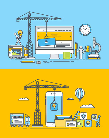 Set of thin line flat design concepts of web and mobile sites and apps design and development. Vector illustrations for web banners and promotional materials.
