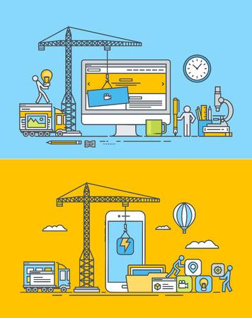 Web とモバイル サイトとアプリの設計と開発の細い線フラット デザイン概念のセットです。ウェブのバナーや販促資料のベクター イラストです。  イラスト・ベクター素材