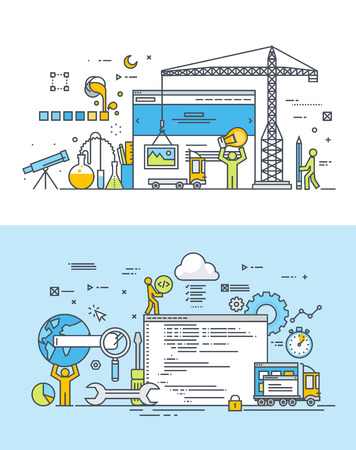 mapa de procesos: Conjunto de l�nea delgada dise�o plana conceptos de dise�o web y desarrollo. Ilustraciones de vectores para la web banners y materiales promocionales.