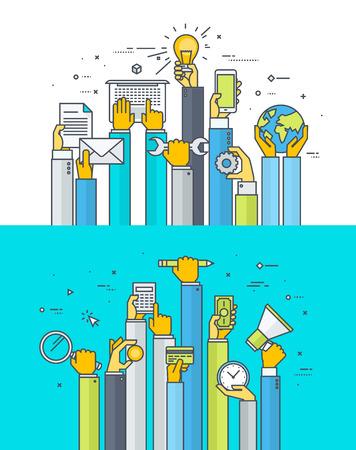 the maintenance: Línea delgada conceptos de diseño piso en servicios de Internet y aplicaciones en el campo de los negocios, las finanzas, la banca, la comercialización, la educación, la tecnología y el desarrollo, mantenimiento, fabricación, comunicaciones Vectores