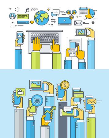 社会的なメディア、社会的ネットワーク、web およびモバイル アプリとサービス、マーケティングのための細い線フラット デザイン概念のセットで  イラスト・ベクター素材