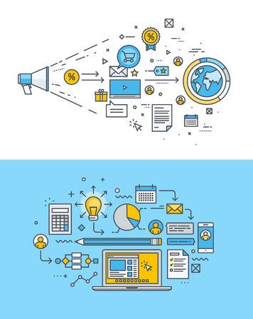 インターネットのマーケティング、広告、ソーシャル メディア、ウェブサイトのデザインと開発のための細い線フラット デザイン概念のセットです。ウェブのバナーや販促資料のベクター イラストです。 ベクターイラストレーション