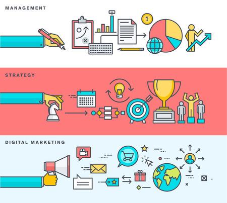 비즈니스, 경영, 전략, 디지털 마케팅, 온라인 광고에 대한 얇은 선 평면 디자인 배너의 집합입니다. 웹 배너 및 홍보 자료에 대한 벡터 일러스트.