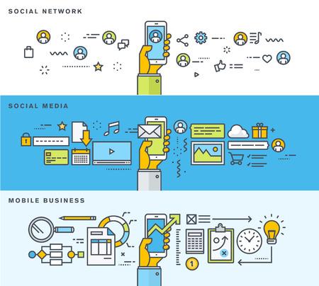 ソーシャル ネットワーク、ソーシャル メディア、モバイル ビジネスの細い線フラット デザイン、バナー広告のセットです。ウェブのバナーや販促
