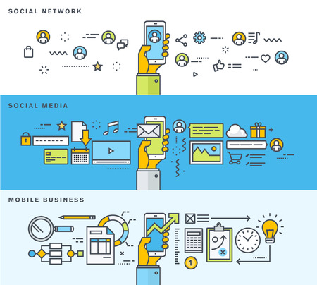 network: Set of thin line flat design banners for social network, social media, mobile business. Vector illustrations for web banners and promotional materials.