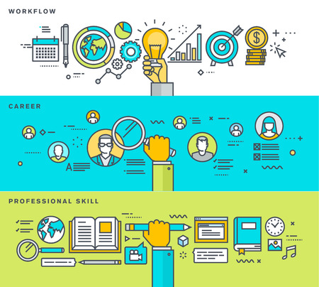 Set van dunne lijn plat ontwerp banners voor workflow, carrière, vakmanschap, human resources business process, onderwijs. Vector illustraties voor web-banners en promotiemateriaal.