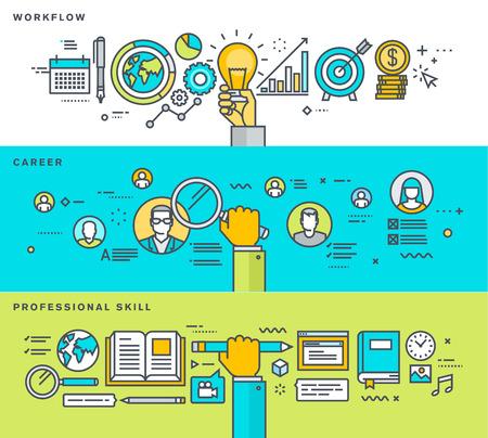Zestaw cienka linia płaska banerów dla przepływu pracy, kariery, umiejętności zawodowych, zasobów ludzkich, procesów biznesowych, edukacji. Ilustracji wektorowych dla banerów internetowych i materiałów promocyjnych.