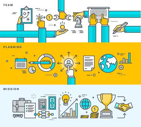 비즈니스, 회사 개요, 관리, 팀 작업, 계획, 선교 얇은 라인 플랫 디자인 배너의 집합입니다. 웹 배너 및 홍보 자료에 대한 벡터 일러스트.