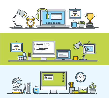 time line: Set of thin line flat design concepts of modern workspace for web and app design and development. Vector illustrations for web banners and promotional materials. Illustration