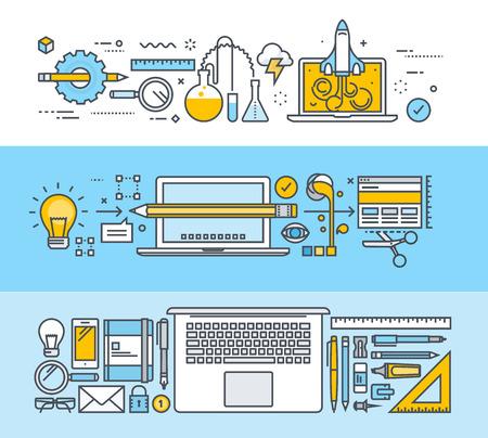 그래픽 디자인, 웹 디자인 및 설계 도구에 대한 얇은 선 평면 설계 개념의 집합입니다. 웹 배너 및 홍보 자료에 대한 벡터 일러스트. 일러스트