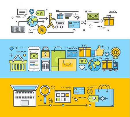 オンライン ショッピング、m-コマース、電子商取引のための細い線フラット デザイン概念のセットです。ウェブのバナーや販促資料のベクター イラ