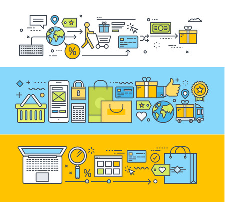 온라인 쇼핑, 모바일 상거래, 전자 상거래 얇은 선 평면 설계 개념의 집합입니다. 웹 배너 및 홍보 자료에 대한 벡터 일러스트. 일러스트