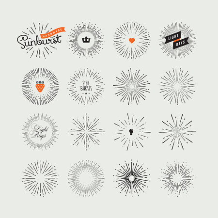 Set of handmade sunburst design elements. Vintage style elements and icons for graphic and website design.