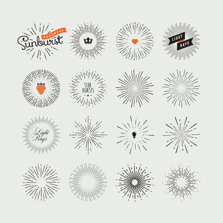 Set van handgemaakte zonnestraal design elementen. Vintage stijl elementen en pictogrammen voor grafische en website-ontwerp.