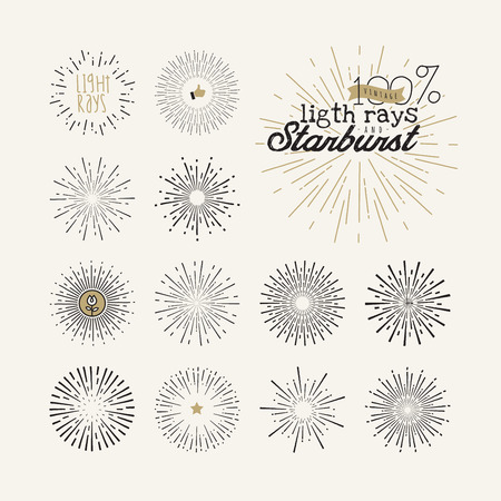 Hand drawn light rays and starburst design elements. Collection of sunburst vintage style elements and icons for label and stickers.