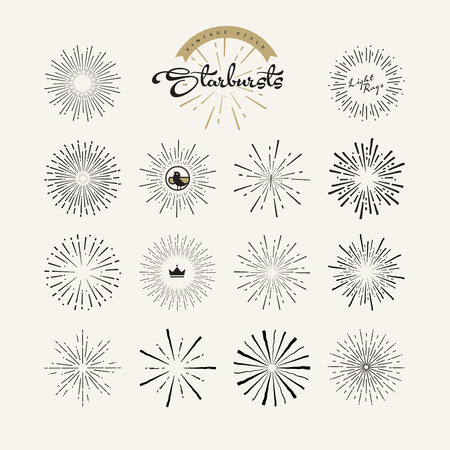 Starbursts vintage style design elements for graphic and web design. Vector light rays elements and icons.