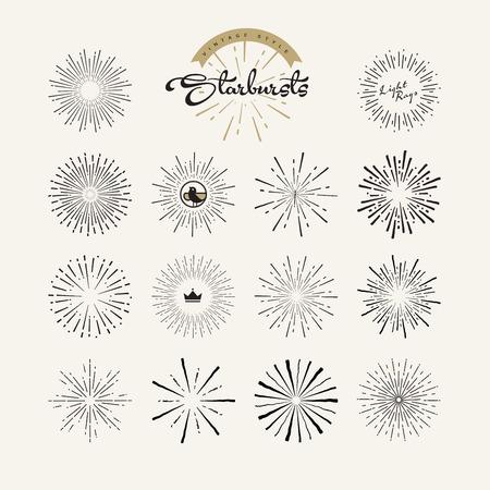 Starbursts vintage style design elementen voor grafisch en webdesign. Vector lichtstralen elementen en pictogrammen.