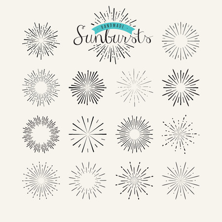 Collection of vintage sunburst design elements. Handmade template elements for graphic and web design.