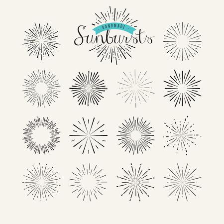 Collection of vintage sunburst design elements. Handmade template elements for graphic and web design.