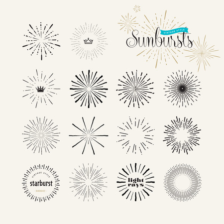 sun rays: Set of vintage style sunburst elements for graphic and web design. Starburstlight rays handmade vector elements.