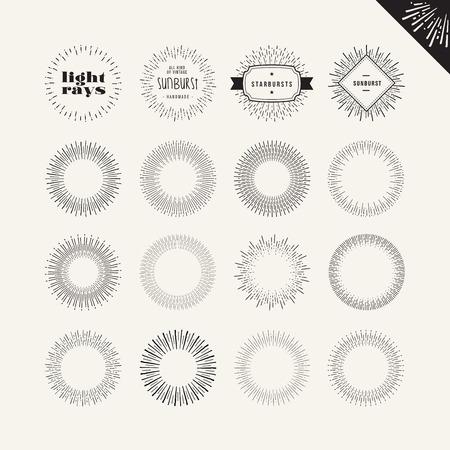 Set of sunburst vintage design elements. Vector hand drawn elements for graphic and web design. Illustration