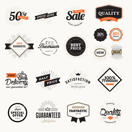 Set of vintage premium quality badges and stickers. Vector illustrations for e-commerce, product promotion, advertising, sell products, discounts, sale, clearance, the mark of quality. 일러스트