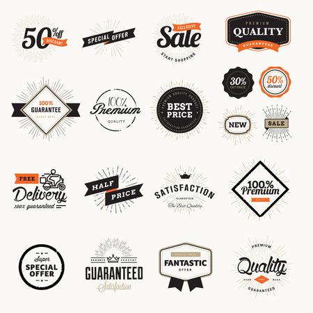 insignias: Conjunto de insignias y pegatinas de la vendimia de calidad premium. Ilustraciones del vector para el comercio electr�nico, la promoci�n del producto, la publicidad, la venta de productos, descuentos, venta, liquidaci�n, la marca de calidad.