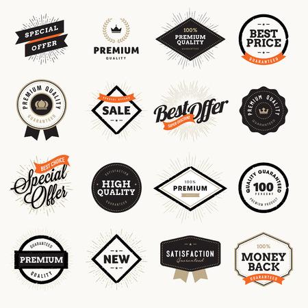 insignias: Conjunto de estilo vintage insignias de calidad premium y etiquetas para los dise�adores. Ilustraciones del vector para el comercio electr�nico, la promoci�n del producto, la publicidad, la venta de productos, descuentos, venta, liquidaci�n, la marca de calidad.